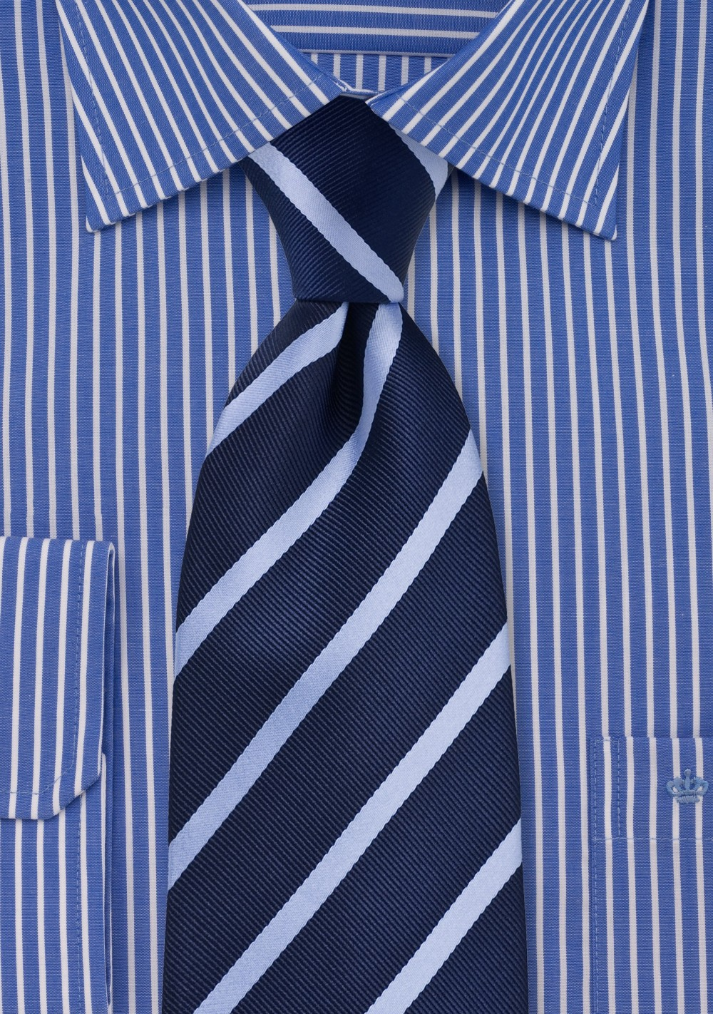 Navy Blue and Light Blue Striped Tie