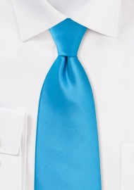 Solid Cyan Blue Tie in XL