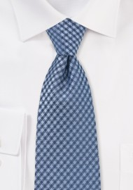 Blue Micro Check Tie in Extra Long Length