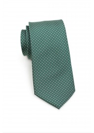 Dark Green Skinny Tie with Silver Dots