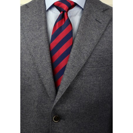Navy and Cherry Striped Tie in XL Length Styled