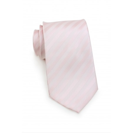 Solid Striped Tie in Blush Pink