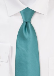 Solid Light Teal Green Tie in Extra Long