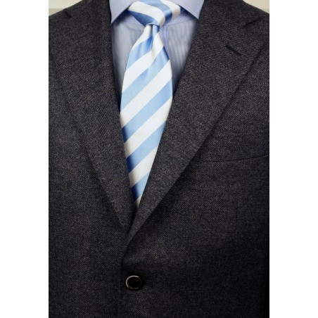 Baby Blue and White Extra Long Necktie Styled