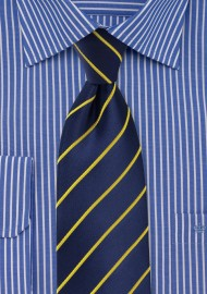 Dark Navy and Golden Yellow Tie