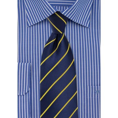 Dark Navy and Golden Tie in Extra Long