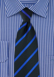 Black XL Tie with Horizon Blue Stripes