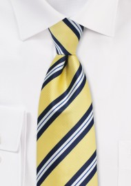 Yellow, Navy, and White Striped Necktie