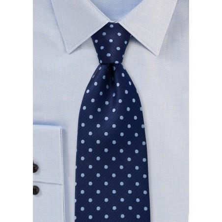 XL Length Polka Dot Tie in Two Blues