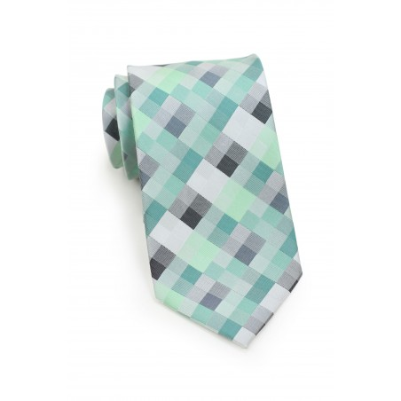 Patchwork Tie in Mints and Silvers