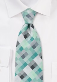 XL Length Patchwork Tie in Mints and Silvers