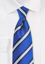 Kids Striped Tie in Horizon Blue