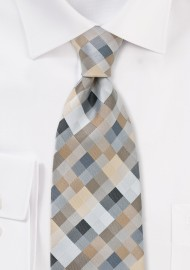 Patchwork Tie in Tans and Silvers