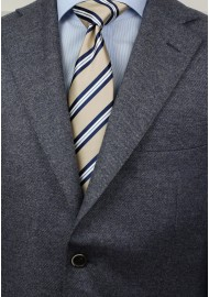 Beige and Navy Striped Tie Styled