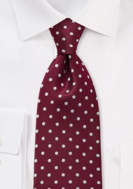Burgundy and Silver Kids Polka Dot Tie