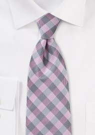 Textured Plaid Tie in Pinks and Silver