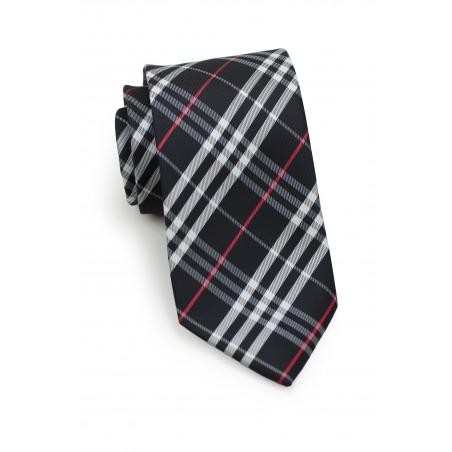Tartan Plaid Tie in Black, Silver, Red