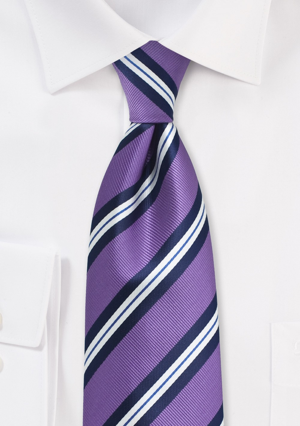 Purple Repp Striped Tie in XL Length
