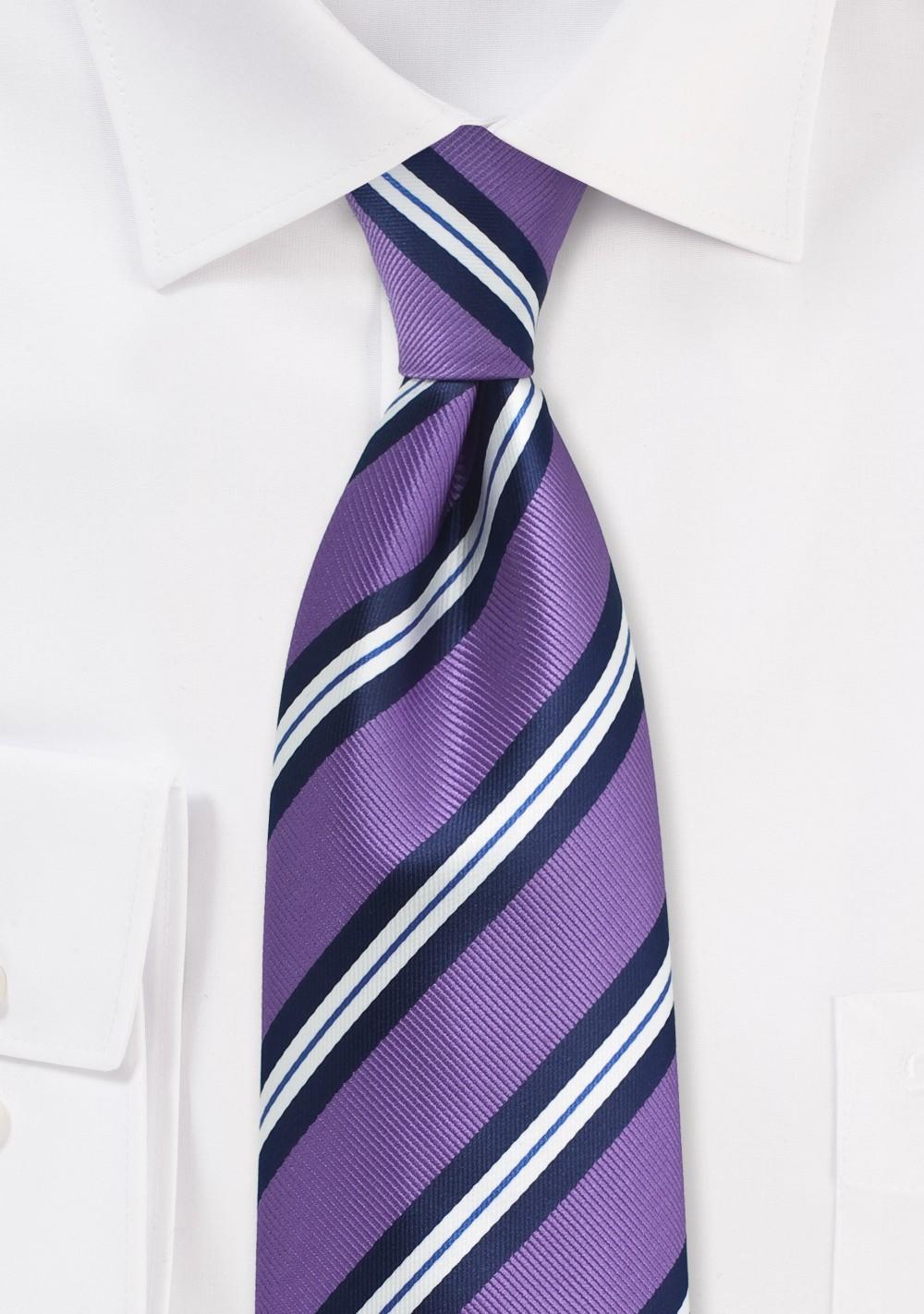Repp Striped Kids Tie in Lilac