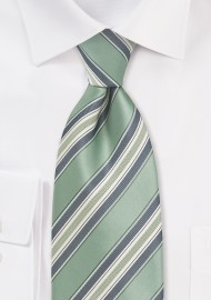 Striped Kids Tie in Clover Green