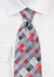 Diamond Check Red Tie in XXL Length