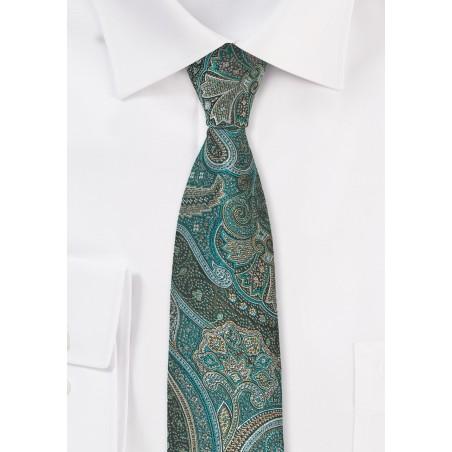 Autumn Paisley Tie in Jade Green
