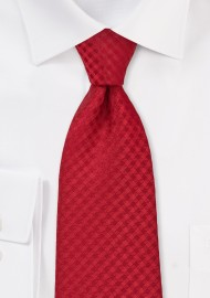 Red Gingham Check Tie in Extra Long Length