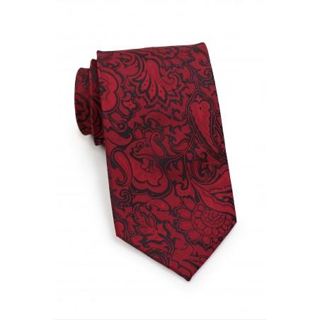 Burgundy Paisley Necktie in XL Length
