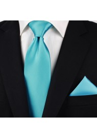 Bright Aqua Colored Tie in Extra Long Length Styled