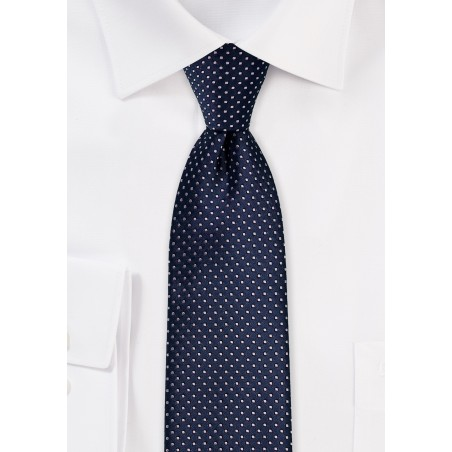 Dark Navy Skinny Tie with Silver Pin Dots