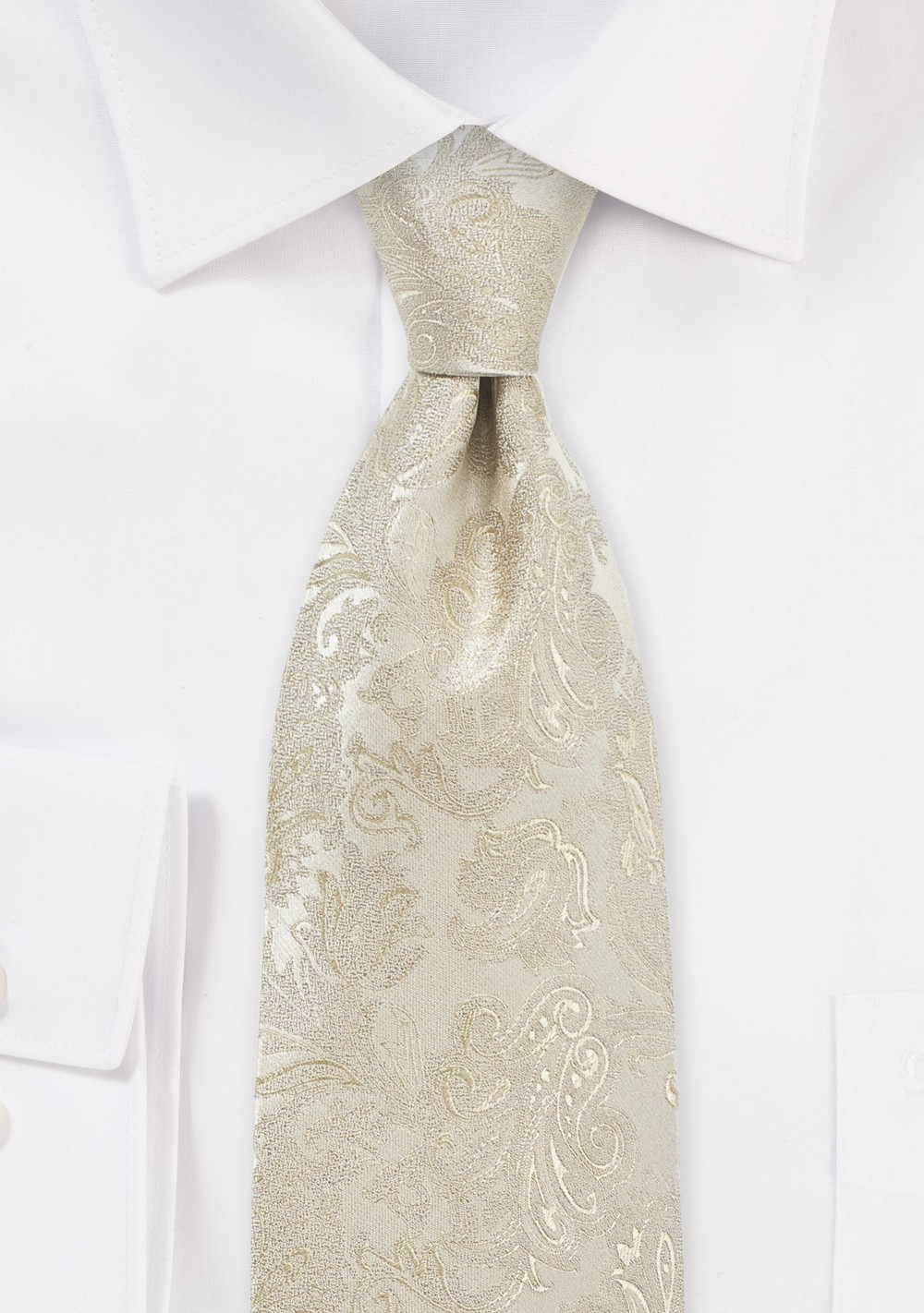 Festive Paisley Tie in Golden Champagne