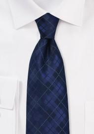 Dark Navy Plaid Tie for Kids