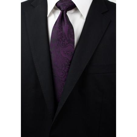 Plum Paisley Necktie Styled