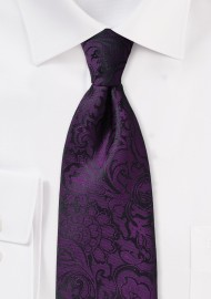 Plum Paisley Tie in XL Length
