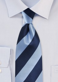 Wide Striped Tie Navy Light Blue