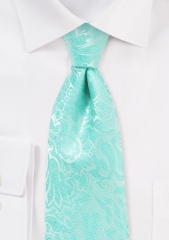 Glacier Blue Kids Tie with Paisley Pring