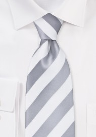 White and Silver Striped Tie in XL Size