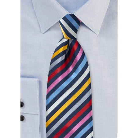 Multi Colored Tie with Vibrant Stripes in Long Length