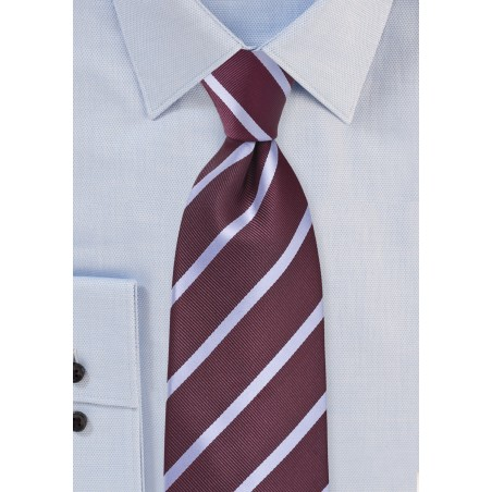 Strided Tie in Aged Burgundy and Grey