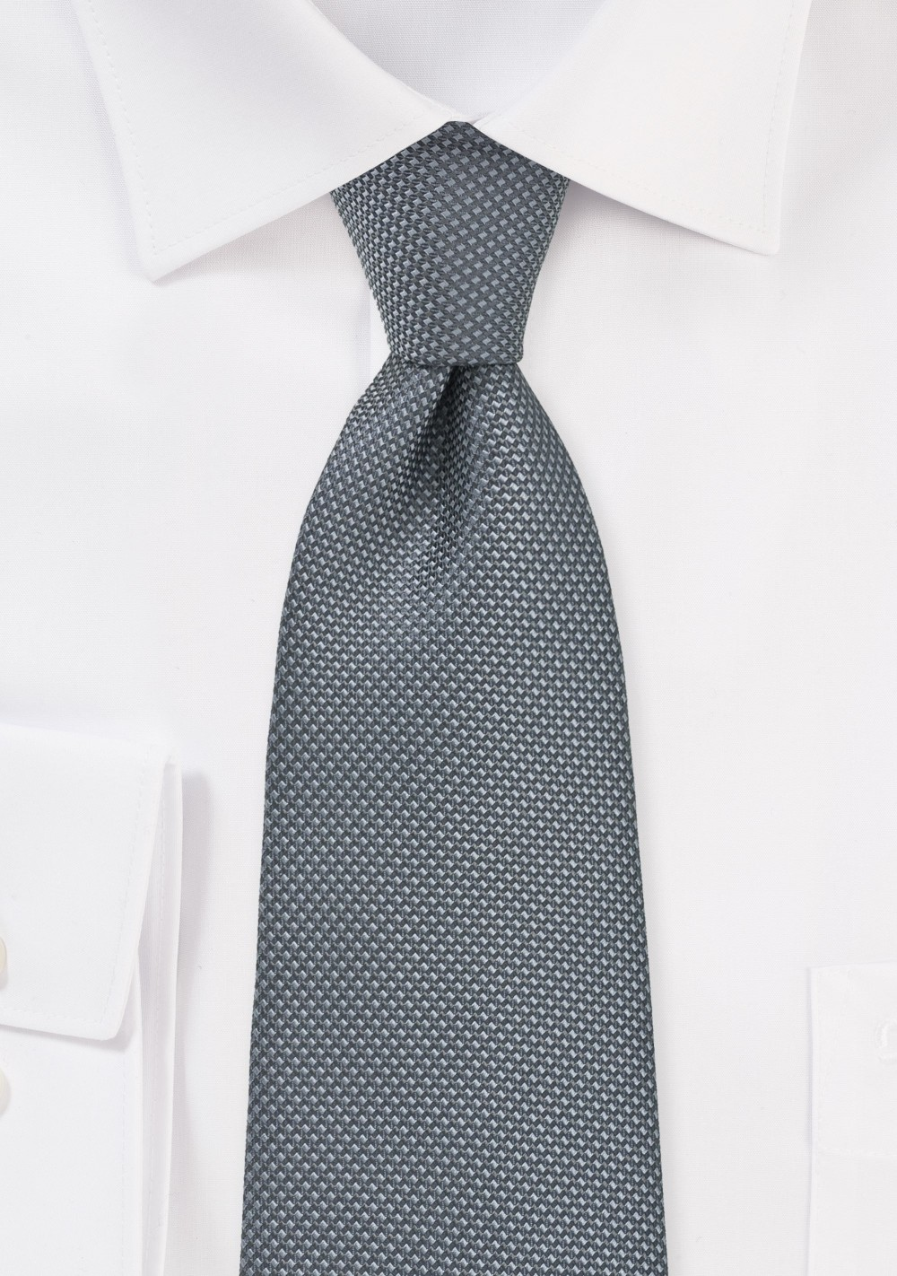XL Length Tie in Gray with Matte Texture