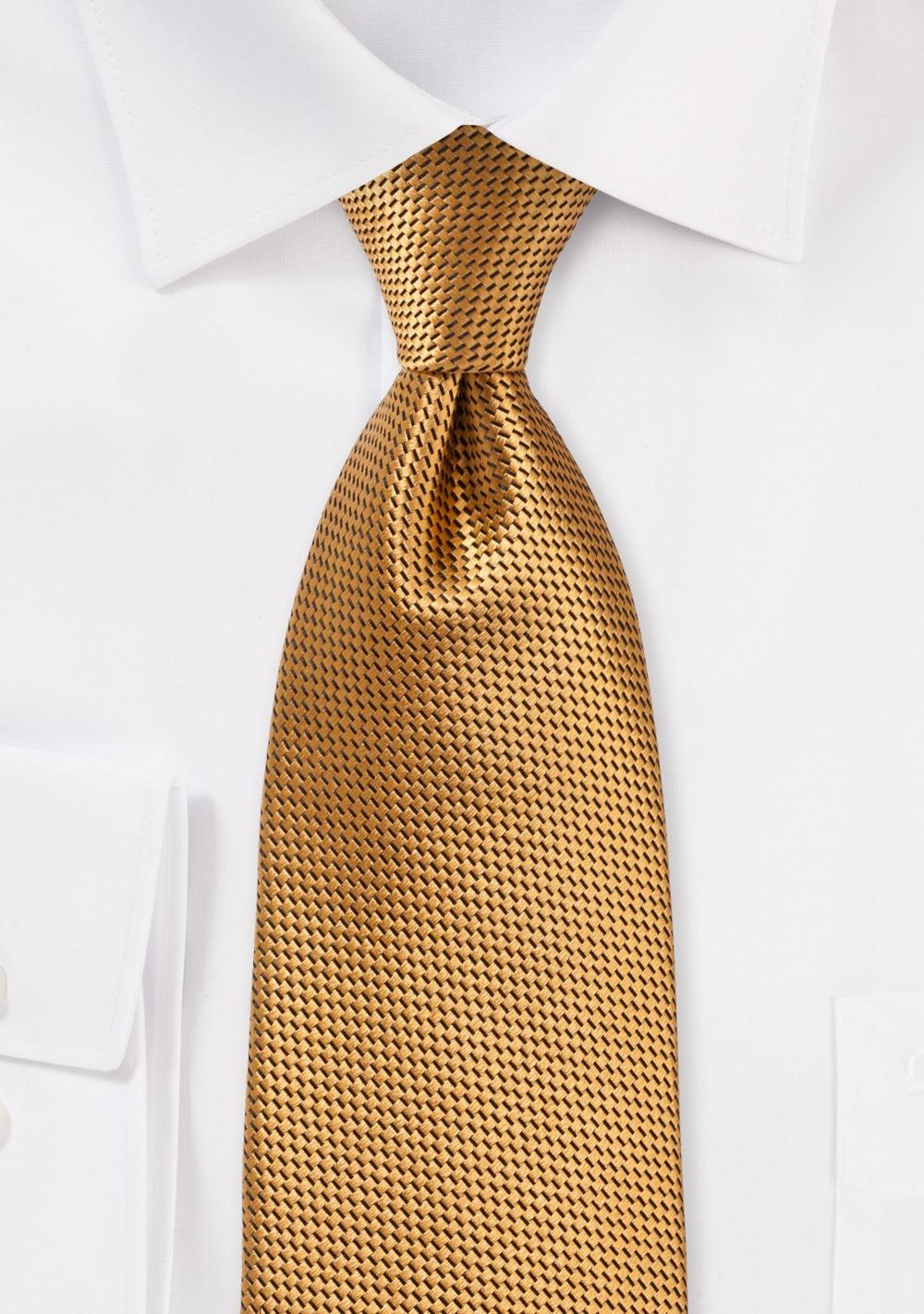 Rich Antique Gold Silk Tie for Boys