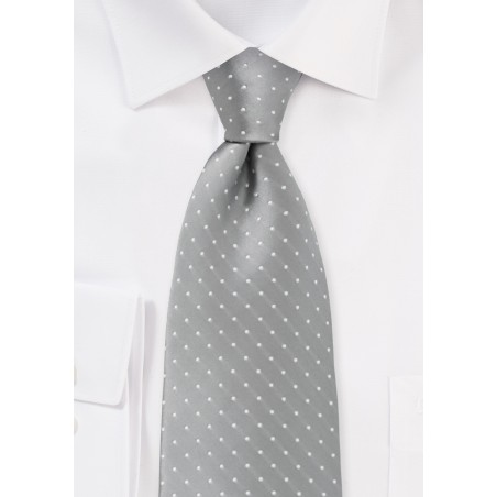 Soft Silver and White Polka Dot Tie