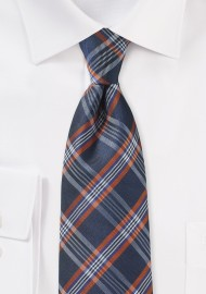 XL Tartan Plaid Tie in Navy and Orange