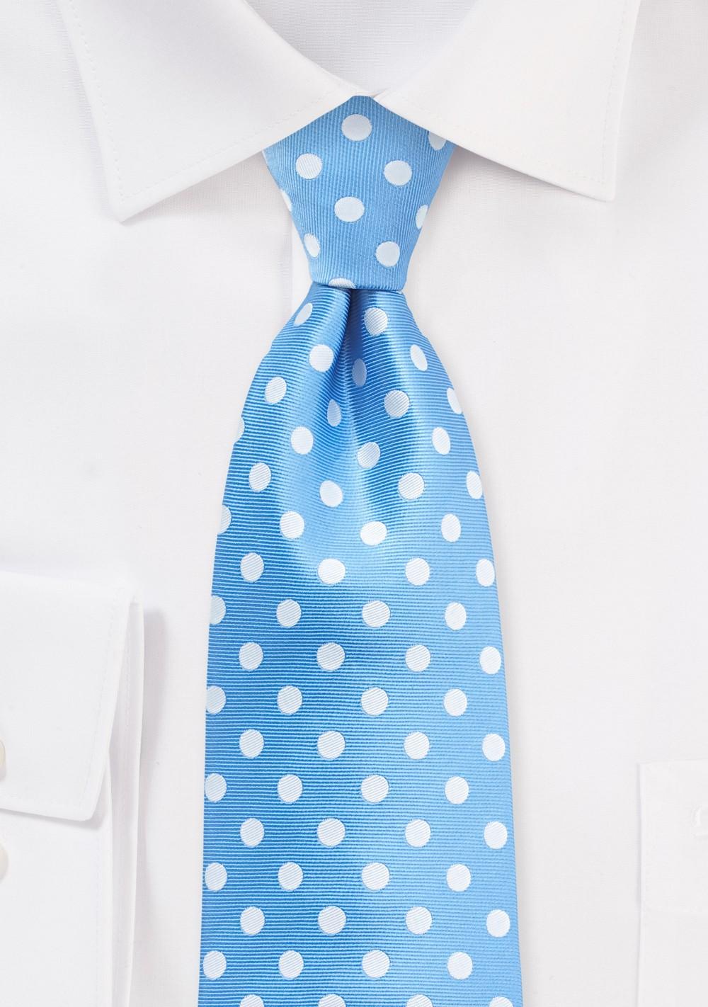 Polka Dot Tie in Alaskan Blue