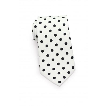 White Necktie with Black Polka Dots