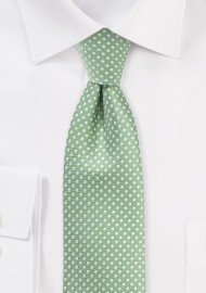 Sage Green Necktie with Mini Dots