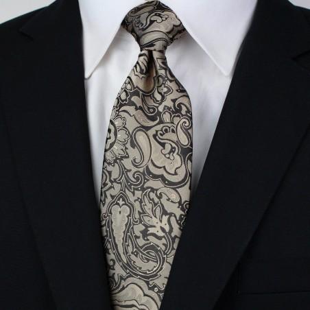 Golden Bronze Extra Long Necktie Styled