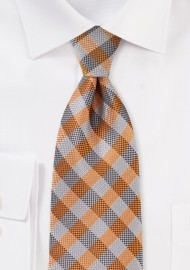Burnt Orange and Gray Plaid Tie
