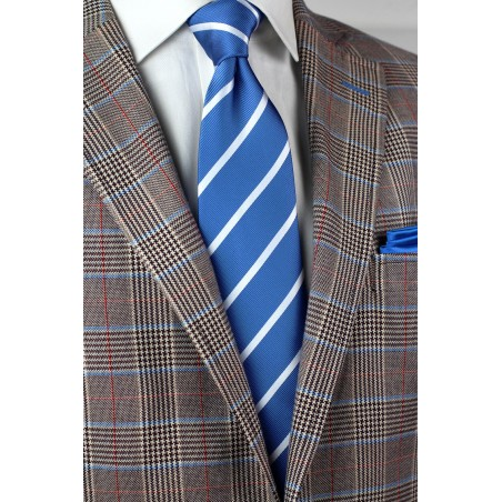 XL Size Repp Tie in Blue and Silver Styled