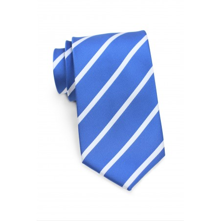 XL Size Repp Tie in Blue and Silver